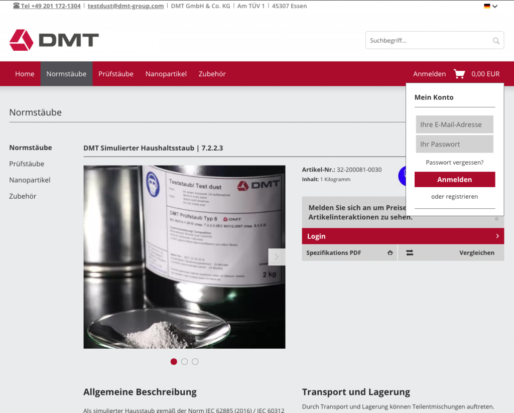 Entwicklung Quicklogin für den Shopware Webshop der DMT Group