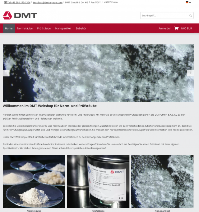 Realisation of a Shop System for the DMT Group (a Division of TÜV NORD GROUP)