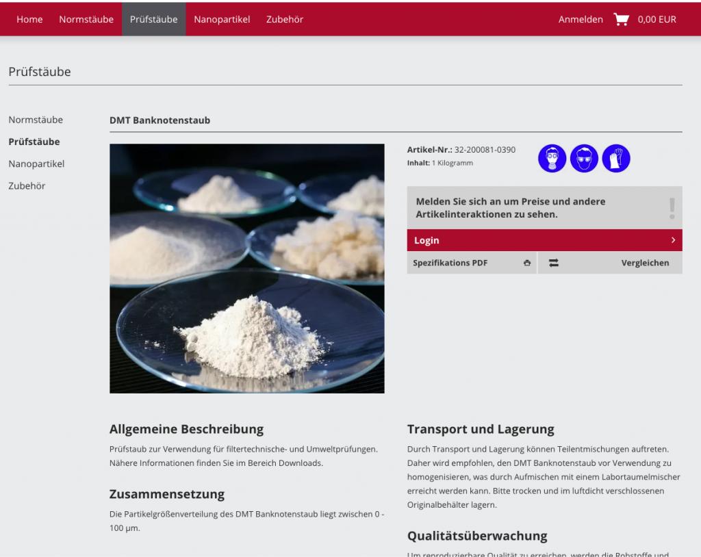 Umsetzung von ohne Login keine Preise und Erstellung von PDF-Produktspezifikationen